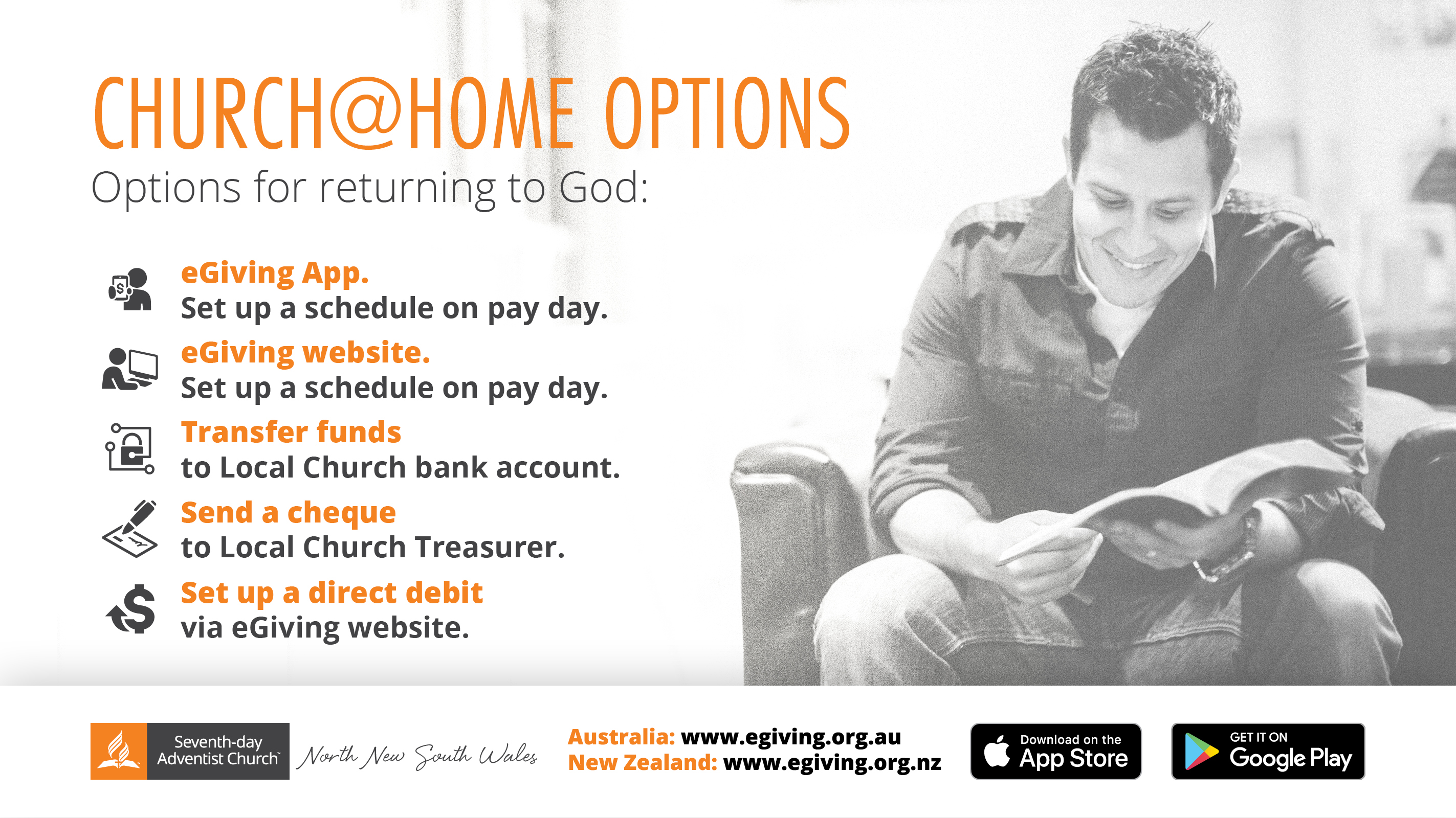 Options for giving tithes and offerings